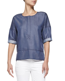 Zip Pullover Shirt, Blue Denim