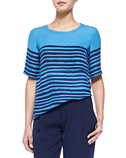 Short-Sleeve Tee W/ Marker Stripes, Ocean/Marine Blue
