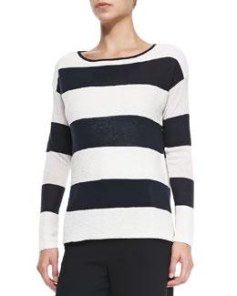 Ottoman Wide-Stripe Knit Sweater