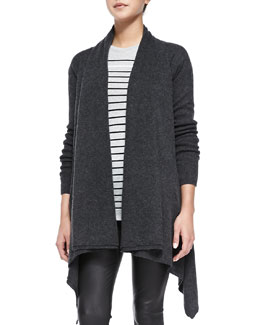 Draped Open-Front Cardigan, Heather Carbon