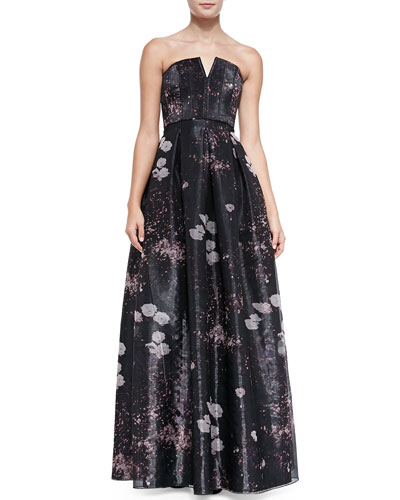 Kamila Printed Strapless Organza Gown