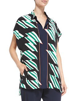 Printed Oversized Blouse W/ Tie Front