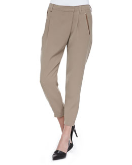 Leather-Trim Wrap-Waist Pants, Driftwood