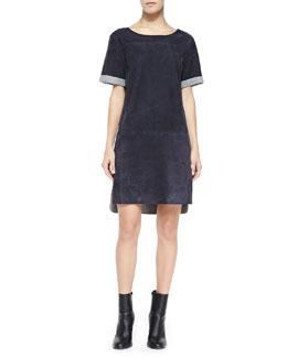 Vince Suede Kimono-Sleeve Shift Dress