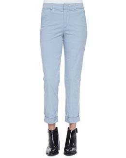 Rolled-Cuff Boyfriend Trousers, Slate Blue