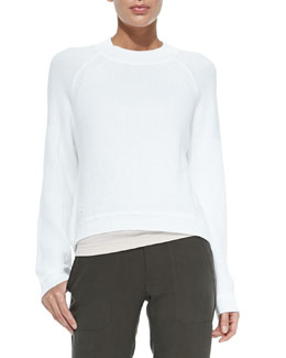 Engineered Rib-Knit Sweatshirt, Optic White