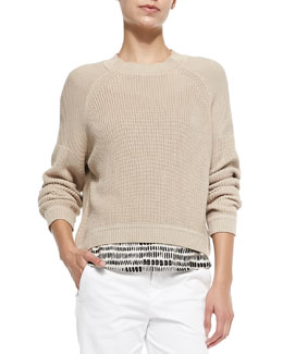 Mixed-Ribbed-Knit Pullover Sweater