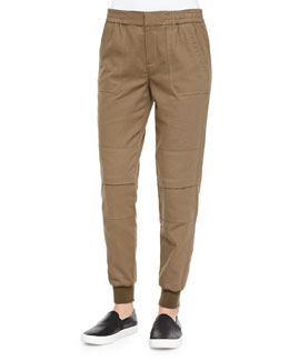 Knit-Cuff Cargo Jogging Pants, Bay Leaf