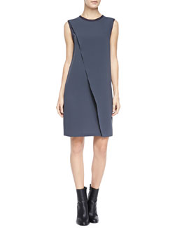 Sleeveless Asymmetric Laser-Cut Dress