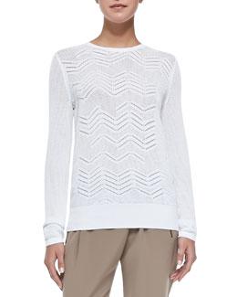 Crewneck Zigzag Mesh Sweater, White