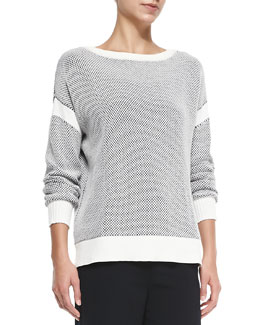 Two-Tone Perforated Knit Sweater