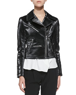 Clarke Moto Jacket W/ Shiny Coating