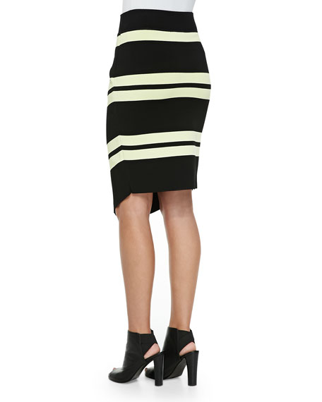 Clift Striped Asymmetric Wrap Skirt