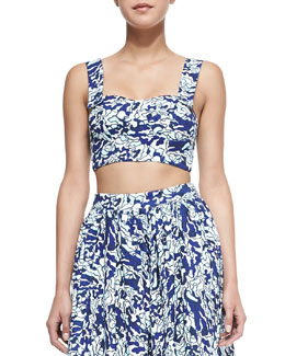Barb Water-Print Bustier Top