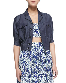 Amur Cropped Half-Sleeve Denim Jacket