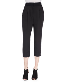 Pleated Cropped Straight-Leg Trousers