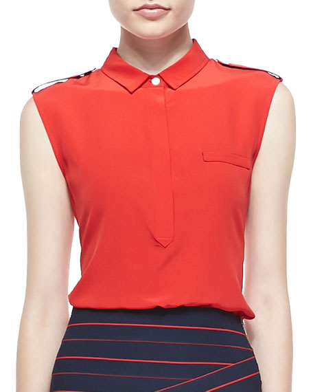 Sleeveless Collared Silk Blouse