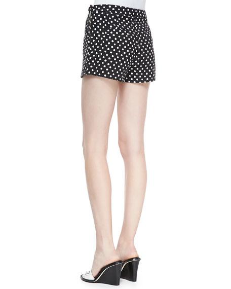 Polka-Dot Side-Zip Shorts