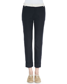 Contrast-Waist Cuffed Ankle Pants
