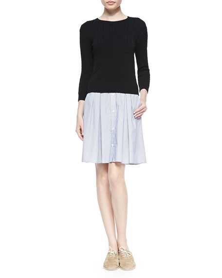 Band of Outsiders Cable-Knit Sweater Shirtdress