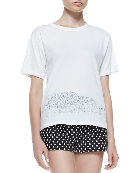 Band of Outsiders St. Tropez Sketched Cotton Tee