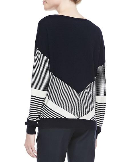 Chevron-Stripe Classic Knit Sweater
