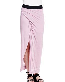 Colorblock Draped Maxi Skirt