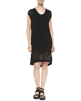 Swift Semi-Sheer Dress W/ Draped Back, Black