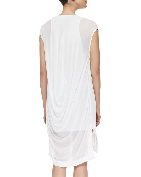 Swift Semi-Sheer Dress W/ Draped Back, White