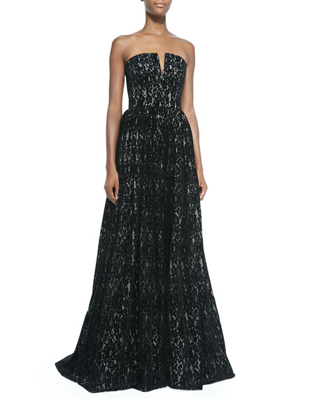 Alice Olivia Axmis Lace Strapless Bustier Gown