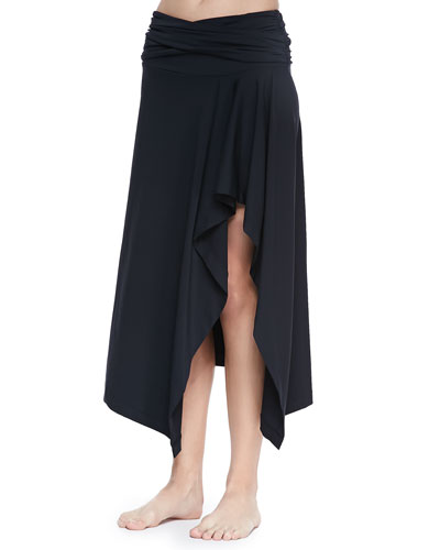 Draped Solids Coverup Skirt, Black