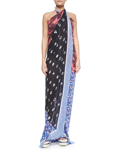 Mixed-Print Pareo Coverup