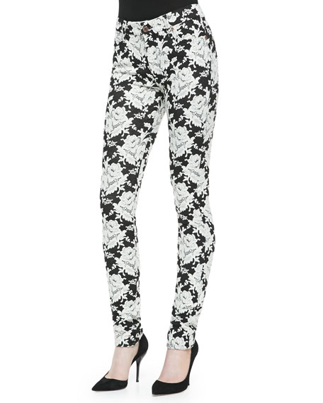 High-Rise Skinny Floral Jeans, White Rose