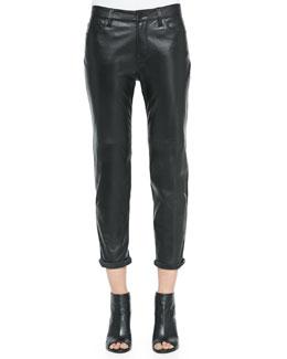J Brand Jeans Casey Leather Boy-Fit Jeans, Black