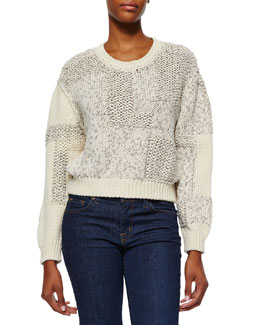 Yoav Mixed-Knit Cropped Sweater