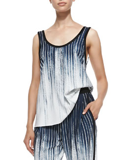 Faded Pinstripe Scoop-Neck Tank