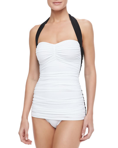 Bill Mio Combo One-Piece Swimsuit, Black/White