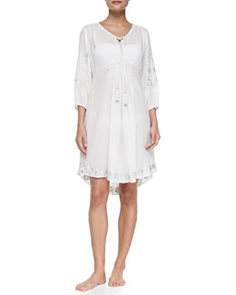Embroidered Hawaiian Tunic Coverup, Pearl
