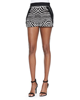 Zebra-Print/Solid Resort Shorts