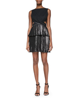 Foiled Pleated Combo Cutout Dress