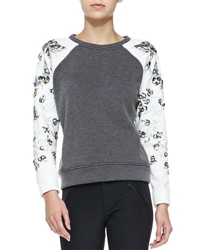 Embroidered-Sleeve Sweatshirt, Heather Gray/Chalk