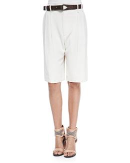 Belted Crepe Walking Shorts