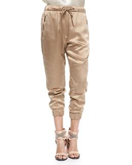 Cropped Satin Moto Pants