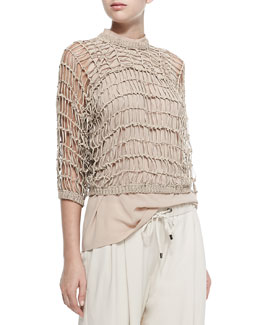 3/4-Sleeve Netted Rubberized Pullover