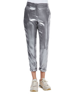 Silk Lamé Roll-Cuffed Pants