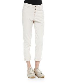 Distressed Boyfriend Jeans W/ Button Fly