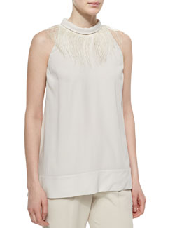 Feather-Trimmed Halter-Neck Top, Vanilla