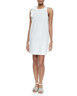 Sleeveless Poplin Dress w/Ruffle Trim, White