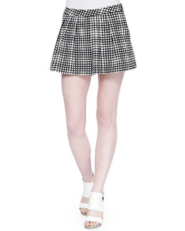 Pleated Wide-Leg Plaid Shorts