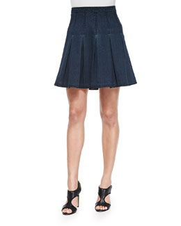 Gemma Pleated Denim A-Line Skirt